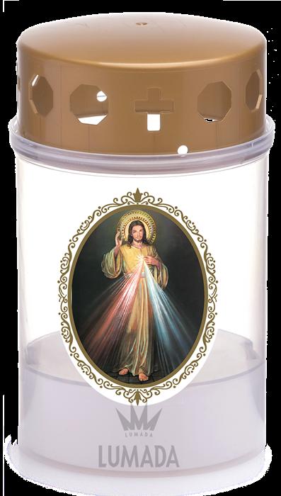 SVEČA LUMADA VKU06 TRANSP. (RU/PLAMEN)  D14 JEZUS  - SKU: VKU06T-6D14