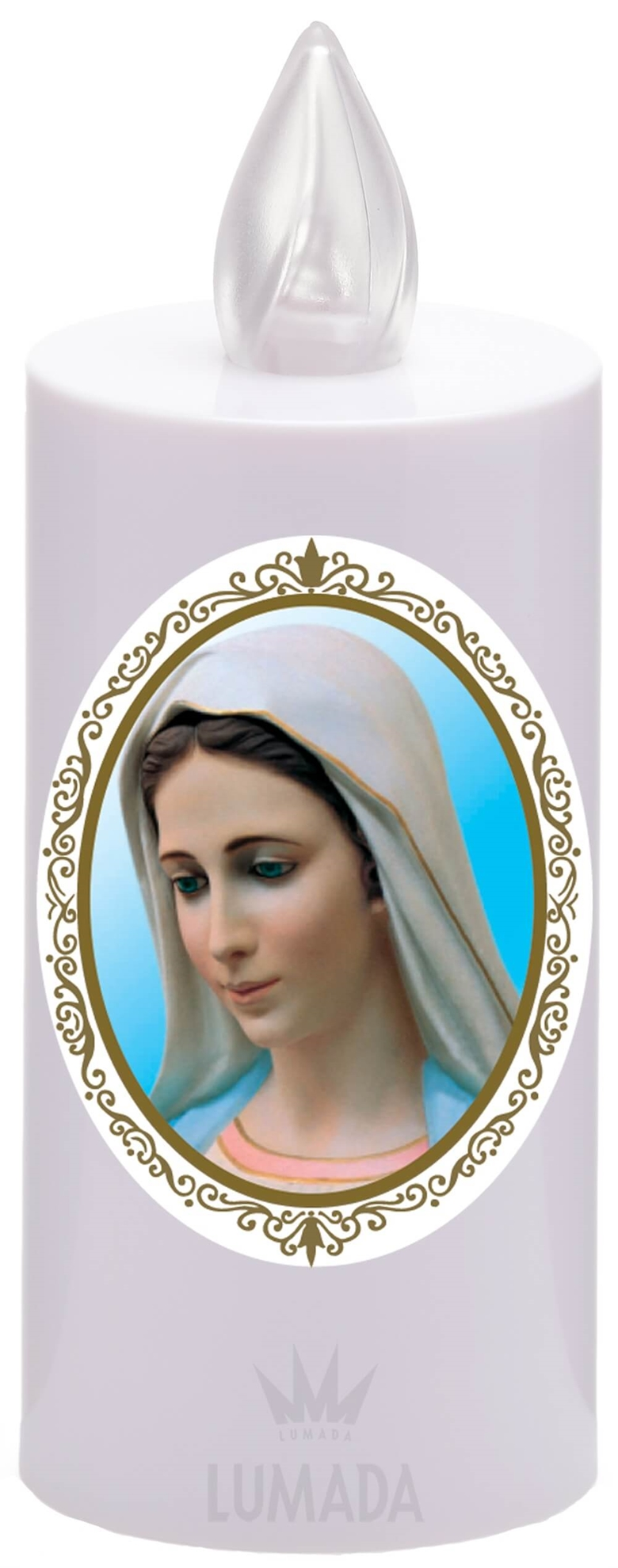 CANDLE ICON VIS18 WHITE (YELLOW/FLAME) D01 MEDJUGORJE - SKU: VIS18B-6D01